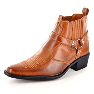 Tan Synthetic Leather Tan Cowboy Ankle Boots