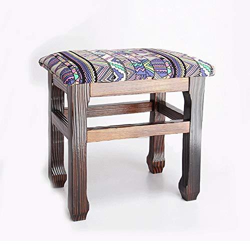 LifeX Antiker Fester hölzerner quadratischer Fußschemel-ethnischer Muster-Änderungs-Schuh-Bank-Erwachsener Flugzeug-Bank-Sofa-Schemel scherzt Rechteck-Sitz-Ausgangsholzspeisehocker-Umkleide-Stuhl (Rosa Antiker Stuhl)
