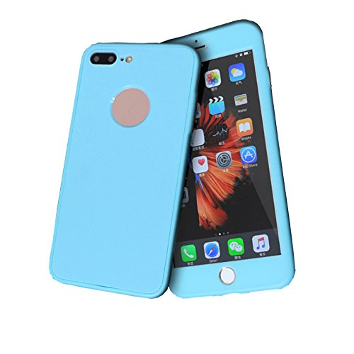 Cover iPhone 6/6s 360 Gradi Morbido Full Body Ultra Sottile TPU Antiscivolo Protettiva Custodia Case DECHYI (4.7 - Bianco+Rosa) Azzurro