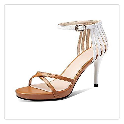 2019 Genuine Leather High Heels Buckle Party Shoes Woman Open Toe Summer Sandals Women Shoes Khaki 8.5 Buckle Open Toe Sandal