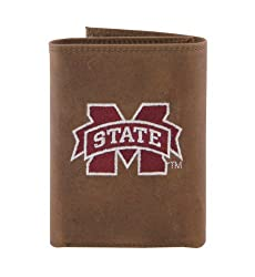 NCAA Mississippi State Bulldogs Zep-Pro Crazyhorse Leather Trifold Embroidered Wallet, Light Brown