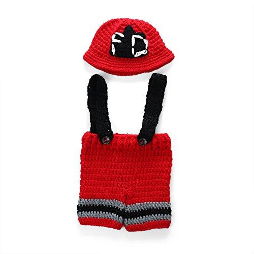 UGUAX Baby Fotografie Prop Crochet Strick Feuerwehrmann Feuerwehr -