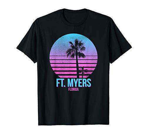 Ft. Myers Florida Vintage Retro Palm Tree Beach T-Shirt - Florida-t-shirts