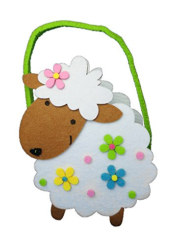 (Deko-Tasche aus Filz Schaf - bunt - 16 x 25cm - Oster-Tasche - Geschenk-Tasche - Filz-Tasche - Henkel-Tasche)