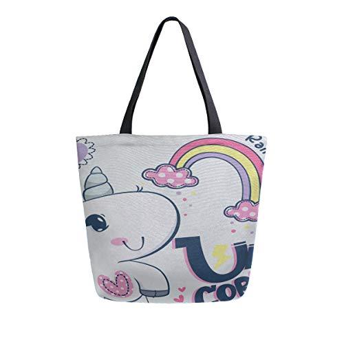 Unicornio lindo bebé colorido arco iris en la nube Portátil Bolsas asas lona doble grandes y portátiles Bolso Hombro Bolsos compras reutilizables Bolso lona para mujeres Hombres Comestibles Viajes