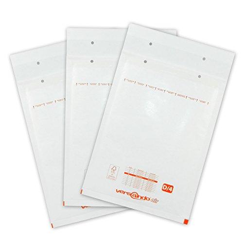 Versando 100 Luftpolsterversandtaschen Versando D4,  200 x 275 mm außen, weiß
