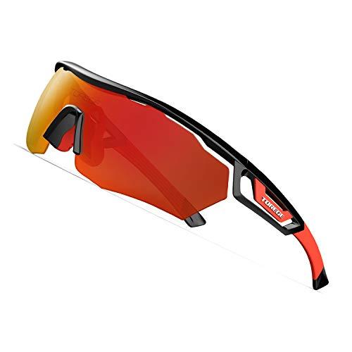 Torege tr05 - occhiali da sole sportivi polarizzati con 3 lenti intercambiabili per uomo e donna, ciclismo, corsa, guida, pesca, golf, baseball, occhiali da sole tr05, black&red&red lens