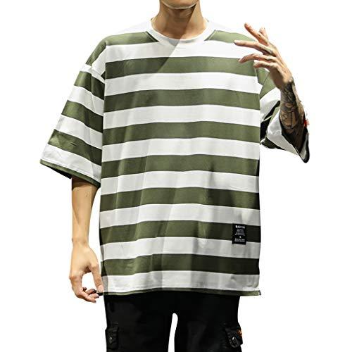 Herrenmode gestreiften Kurzarm Top Männer Poloshirt Sommer Slim Fit Leicht Business, Bluestercool Casual Oversize Gestreifte Komfortable Bluse Top
