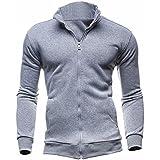 AUMELR Mens Stand-up Collar Jacket Full Zipper Sweatshirt Micro Fleece Classic Coat