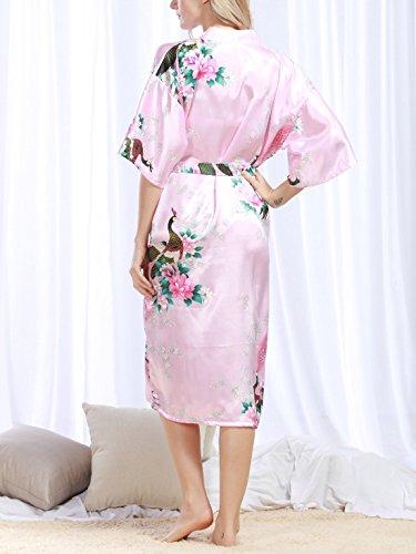 Feoya Damen Elegant Morgenmantel Bademantel Nachthemd Schlafanzug Kunstseide Nachtwäsche Polyester Sleepwear - Weiß Hellrosa
