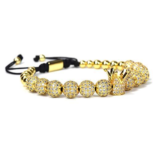 Imagen de diseño de moda para mujer pulseras de la corona imperial de color oro micro pave mujeres trenzado macrame pulsera joyería de los hombres dorado  alternativa