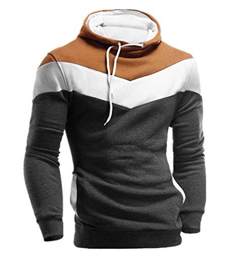 KPILP Männer Übergröße Herbst Winter Retro Patchwork Langarm-Shirt Hoodie Sweatshirt Oberteile Jacke Mantel Outwear(Dunkelgrau, 2XL) -