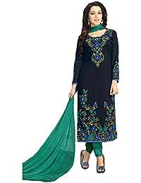 Shree balaji's women cotton unstitched dress material with dupatta black