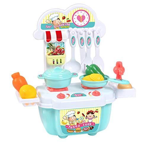1 Kinder einstellen Mädchen Spielzeug Rolle abspielen Mini-Simulation Geschirr Kochgeschirr Kind Cartoon Kochnische Kochen Haus Lernspielzeug