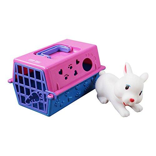 katzeninfo24.de COM-FOUR® Transportbox für Spielzeugtiere, z.B. Hund, Katze, Hase / inklusive Tier (Hase)