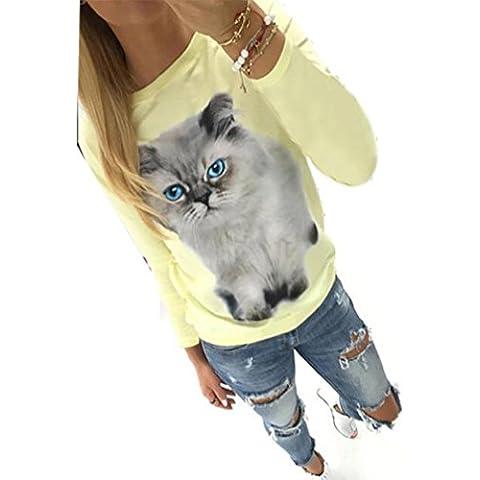 FEITONG Las mujeres de manga larga Modelo del gato Blusa Tapas flojas de la camiseta