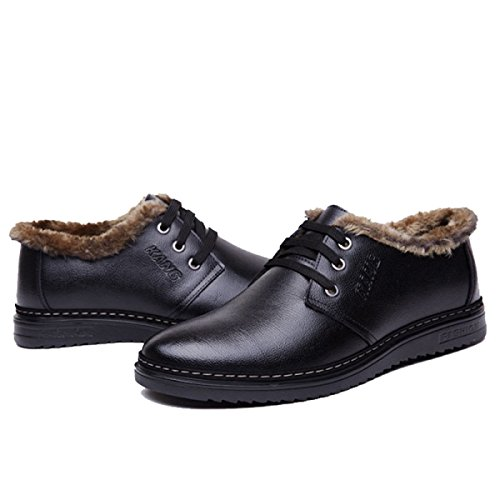 GRRONG Cotone Invernale Scarpe Casual Uomo Calzature Uomo Casual Pantaloni Caldi Traspiranti Scarpe Black
