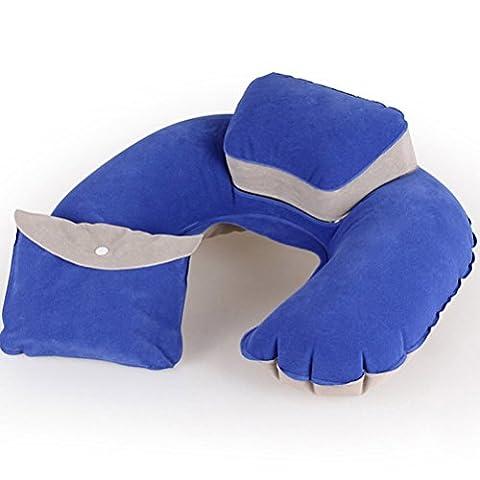 Contever® Bleu '' U '' forme Oreiller de voyage Gonflable avec Confort Rehausseur de Tête (1x Stockage sac inclus)