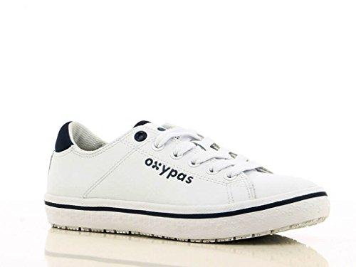 Oxypas Baskets en Cuir Blanche et Bleu Paola Pour Femme Blanc bleu