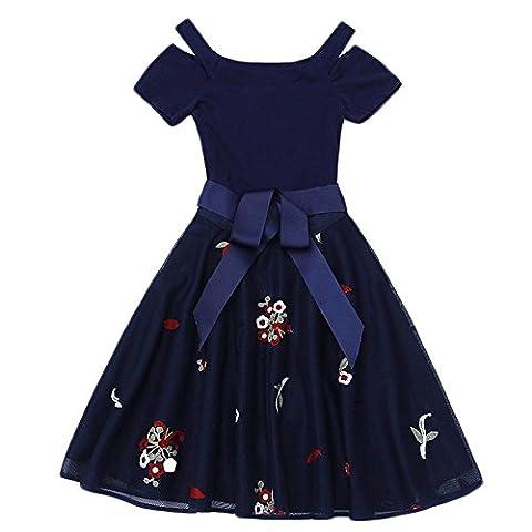 Femme Shi Leisi Slim robe bustier brodé robes épaule mot féminin , navy blue , s