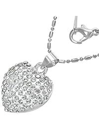 Fashion Kristall Liebe Herz Charm Halskette mit Zirkon - Weiß