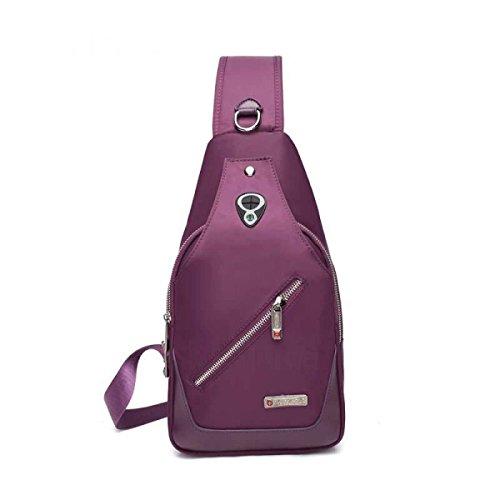 BULAGE Bag Brusttasche Im Freien Kleiner Rucksack Männer Und Frauen Mode Schulter Kurier Bergsteigen Wandern Tourismus Radfahren Einfach Purple
