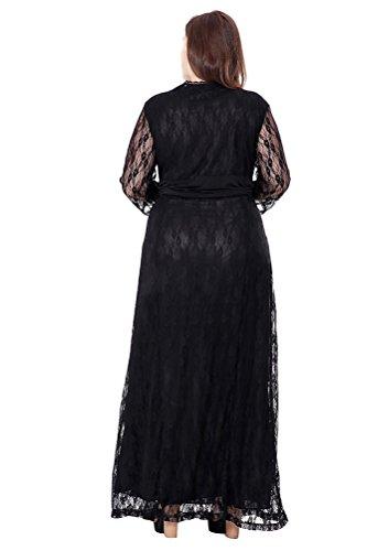 Brinny Mode sexy col V Profond Ajouré Dentelle Femme Robe de mariée de soirée de cérémonie de banquet High waist Oversize Noir / Beige EU 48 - 56 Noir