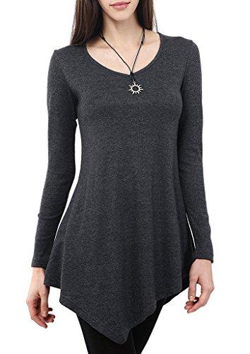 Bigood Sexy T-shirt Femme Coton Chemise Col V Top Manche Longue Pull Amincissant Soirée Cocktail Gris Noir