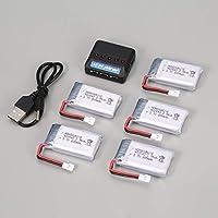 Ironheel 5pcs 3.7V 800mAh Batería + 5 en 1 Cargador USB para Syma X5 X5c X5SW X5SC MJX X705C SG600 RC Drone Quadcopter Parte batería de Repuesto