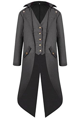 Gentleman Kostüm - Huiyemy Herren Barock Steampunk Jacke Gothic Punk Mantel, Mittelalter Kostüm mittelalterlichen Renaissance Viktorianischer Gentleman Steampunk Kostüm Schwarz M