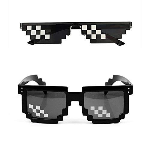 Best-Bag Thug Life Sonnenbrille 2 Stück Schwarz 8 Bit Pixel Brille Mode Männer Frauen Mosaik Foto Requisiten Brille Spielzeug