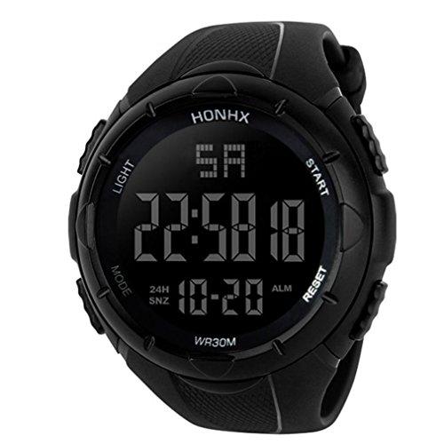 Yesmile Reloje❤️Reloj Electrónico de Silicona Hombres de Lujo Analógico Militar Digital Deporte LED Impermeable Reloj de Pulsera HONHX (Negro)