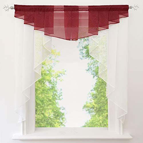 EZ GLAM Fenstergardine mit Schön Falten Kleinfenster Voile Tunnelzug Scheibengardine (B*H 120 * 125cm, Weinrot)