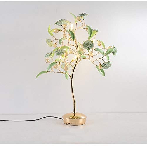 FDA3H / Europäisch, modern, Luxus-Bouquet aus rosafarbener LED-Schreibtischlampe, Bouquet aus rosafarbenem LED-Nachtlicht mit handgefertigter Rosenblüte aus Porzellan und K9-Kristall für Schlafzimmer, -