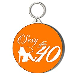 Gift Insanity SEXY at 40 Woman Silhoutte Crouching Sex Kitten White ON ORANGE 45mm Keyring
