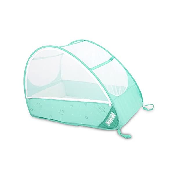 Koo-di Pop Up Travel Bubble Cot Cockatoo with Mattress and Mosquito Net - suitable from 6 to 18mths  A comfortable cot ideal for use at home while baby rests during the day, out and about, on holidays or weekends away Most suitable for use from 6 months to approximately 18 months and when outgrown, makes an ideal playhouse for little ones. Weighs less than 2.2kgs. Quick and easy to use. Measures L100 x W60 x H69cm when assembled 3
