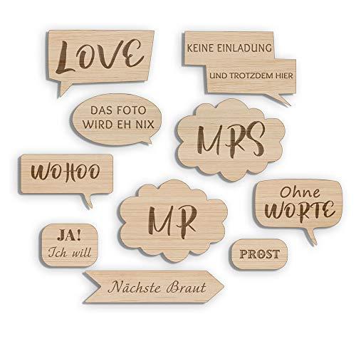 en Schilder und Sprüche graviert für Fotobox aus Holz (robust)   Wedding Props Dekorationen und Zubehör für Hochzeit - Set 10 Teile ()