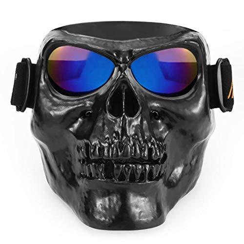 Leezo Mens Motorrad Helme Goggle Maske Totenkopf Vollgesichts ABS Winddicht Goggle Monster Maske für Cosplay Kostüm Halloween Party