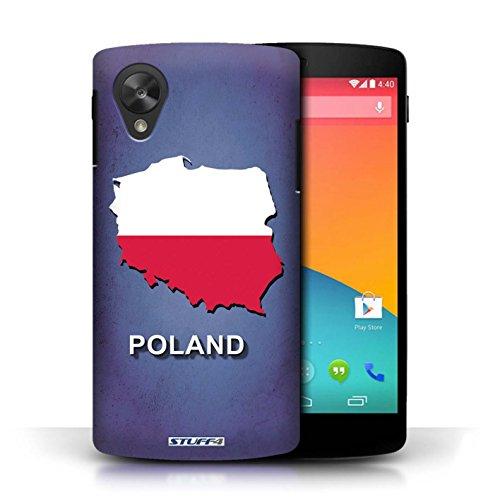 Coque en plastique pour LG Google Nexus 5/D821 Collection Drapeau Pays - Grèce/Grecque Pologne/Polonais