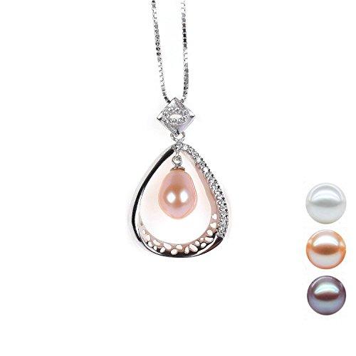 Bishilin S925 Silber Weiß Mode Perle Engel Tropfen Anhänger Halskette Für Damen