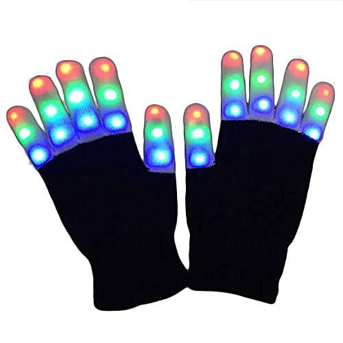 Jacinto 1 Paar LED Rave Flashing Gloves Glow 7 Modus Leuchten Finger Beleuchtung Party Kids