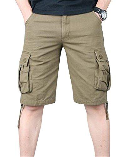 SMITHROAD Herren Cargo Short Knielang 6-Pocket-Style Kurze Hose mit Tasche Sommer Freizeithose 02-Oliv,W44 (6-pocket-hose)