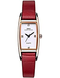 IBSO Women Watches Genuine Leather Strap Woman Watch Fashion Top Quality Party Waterproof Relogio Feminino Ladies Crystal Small Rectangle Dial Leather Bracelet Strap Wristwatch (Rose Gold Red)