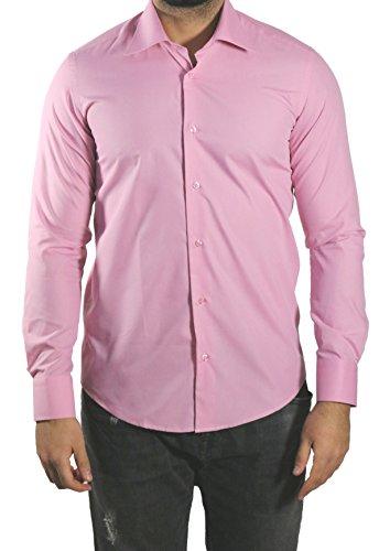 Muga -  camicia classiche  - basic - classico  - maniche lunghe  - uomo rosa antico xxx-large