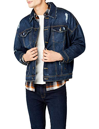 Urban classics ripped denim jacket, giacca in jeans uomo, blu (blue washed), x-large