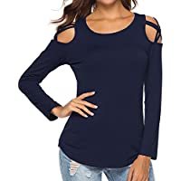 Clearance!!!Loose Long Sleeve Tops for Women Musheng Strappy Cold Shoulder Tops Long Sleeve T-Shirt Blouses