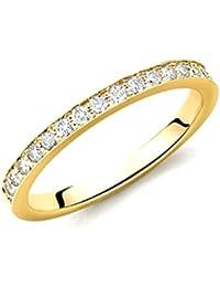 0.15 Carat Round Diamond Delicate Half Eternity Ring in 18k Yellow Gold