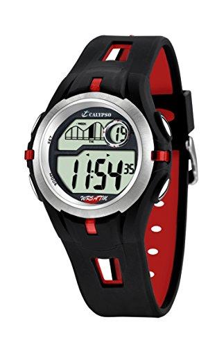 Calypso Unisex Armbanduhr Digitaluhr mit LCD Zifferblatt Digital Display und schwarz Kunststoff Gurt K5511/4