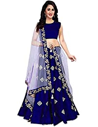 b571b2cbd BRIDAL4Fashion woman s Embroidered Taffeta Satin Semi Stitched Lehenga Choli  For Women (free size)