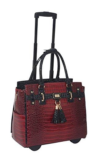 Damen-Trolley / -Handtasche Brieftasche mit Rollen für iPad, Tablet oder Laptop, Alligator-Optik, Rot und Schwarz, Laptoptrolley (Handtasche Akzent)